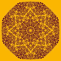 Ornamental henna mandala card. Geometric circle element in vector. Perfect cover or any other kind of design, birthday and other holiday postcard, kaleidoscope medallion, yoga yantra, indian motif