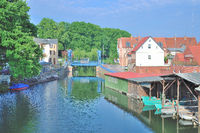 Village of Plau am See at Mecklenburg Lake District,Germany