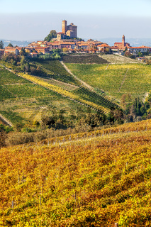 Small town and vineyards in Piedmont, Italy.