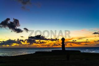 Moai at Ahu Ko Te Riku at sunset