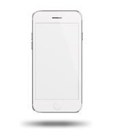 Mobile smart phone with white screen isolated on white background.