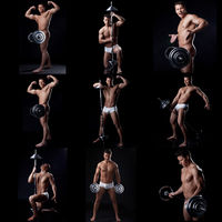 Set of cheerful muscular guy posing with barbell