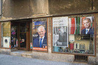 Shop window political posters Budapest Hungary