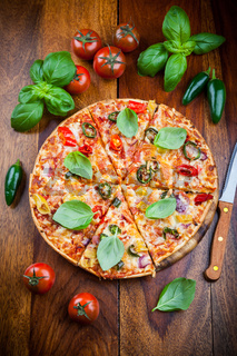 Tradition spanish pizza with chili and jalapenos