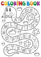 Coloring book snake with alphabet theme - picture illustration.