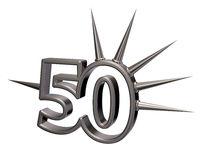 nummer fünfzig mit stacheln aus metall - 3d illustration
