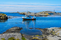 Fishing boat in a bay near Bud, Norway