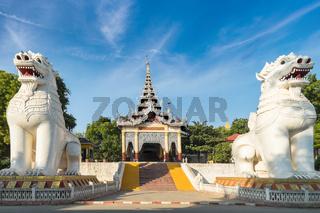 Gigantic Bobyoki Nat guardian statues at Mandalay Hill. Myanmar (Burma)