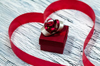 February 14 Valentines day - heart from red ribbon