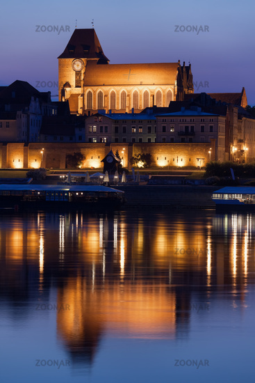 Torun Cathedral with Reflection on Vistula River