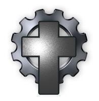 christliches kreuz und zahnrad uf weißem hintergrund - 3d illustration