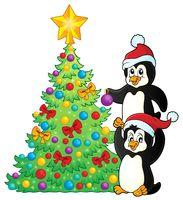 Penguins near Christmas tree theme 2 - picture illustration.