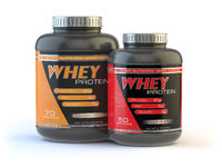 Whey protein isolated on white. Sports bodybuilding  supplements or nutrition.