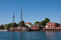 Traditional sailingboat Fortuna in Danish port