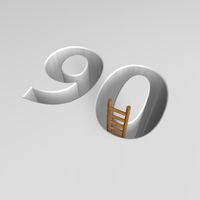 loch im boden in form der zahl 90 und eine leiter - 3d illustration