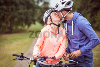 Happy couple on a bike ride