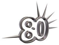 nummer achtzig mit stacheln aus metall - 3d illustration