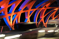 Light effects at the tube-shaped spatial structure of the Hans-Wilsdorf-bridge, Geneva, Switzerland