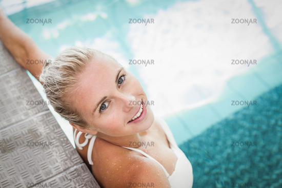 Attractive woman resting on the edge