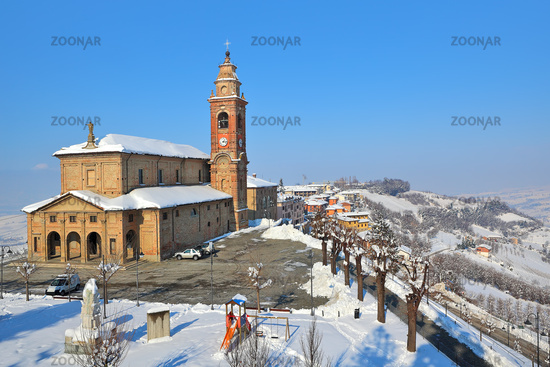 Small plaza and church in Diano D'Alba, Italy.