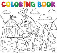 Coloring book horse near circus theme 1 - picture illustration.