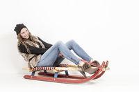 Fashion shoot on sled