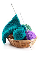 Knitting wool and a few balls in the basket