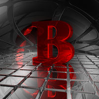 großbuchstabe b in scifi-umgebung - 3d illustration