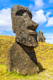 Polynesian Stone Statue at the Rapa Nui National Park