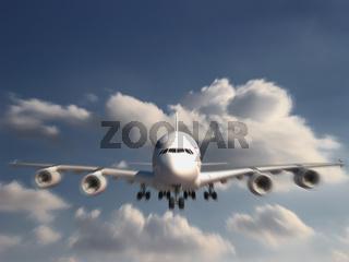 Large Jumbo Jet is landing