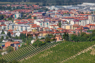 Langhe hills and town of Alba.