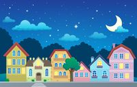 Stylized town at night - picture illustration.