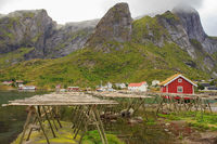 Hjell, wooden stockfish frames in Reine, Norway