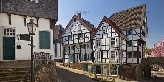 timber-framed houses in the old town in Muelheim an der Ruhr, North Rhine-Westphalia, Germany