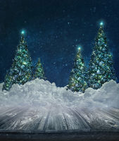 Holiday background with Christmas lit trees in sno