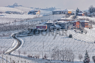 Rural wintry view of Langhe.