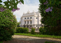 Opera and Ballet theater through the lilac bushes in the Spring, Ekaterinburg, Russia
