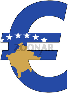 euro with flag of kosovo