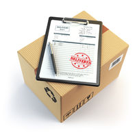 Delivery concept. Cardboard box, pen, clipboard with receiving form and stamp delivered isolated on white.