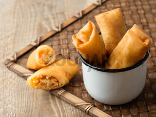 rustic golden chinese spring rolls
