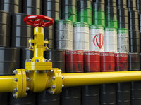 Oil pipe line valve in front of the Iranian flag on the oil barrels. Iranian gas and oil fuel energy concept.