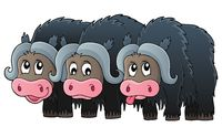 Three muskoxen theme image 1 - picture illustration.