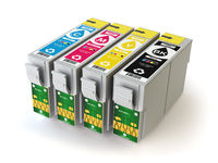 CMYK cartridges for colour inkjet printer isolated on white.