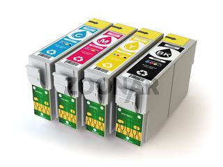CMYK cartridges for colour inkjet printer isolated on white.