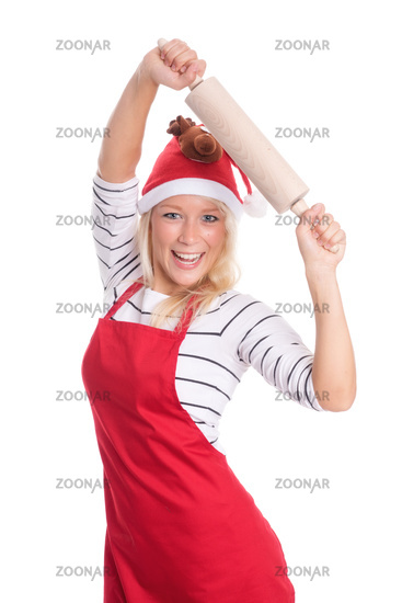 christmas woman in apron with rolling pin