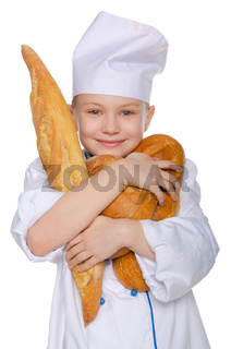 Merry baker with three loaves of bread