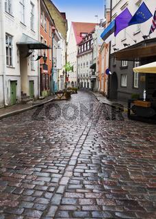 Old city's  streets after the rain. Tallinn. Estonia