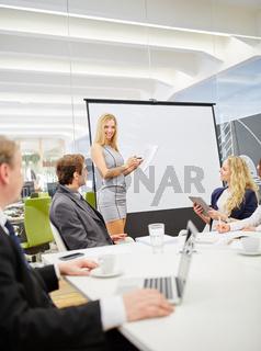 Frau bei Präsentation mit Flipchart