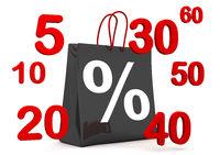 Black Shopping Bag Percent Numbers