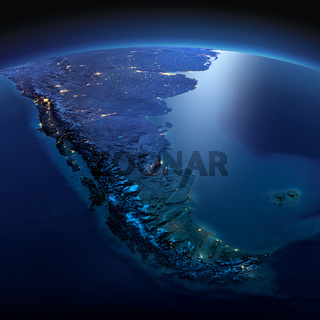 Detailed Earth. South America. Tierra del Fuego on a moonlit night
